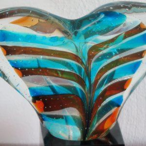 """Unknown Other - WHALE TAIL Blue Brown Blown Glass 11"""" W x 8"""" H"""
